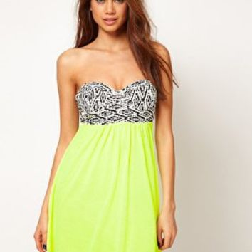 Reverse Aztec Bustier Neon Dress at asos.com