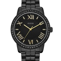 Luxe Oversized Black Roman Numeral Watch | GUESS.com
