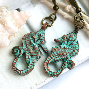 Seahorse Earrings, Beach Jewelry, Beach Earrings, Seahorse Jewelry, Verdigris Patina, Sea Ocean Jewelry, Rustic Beach