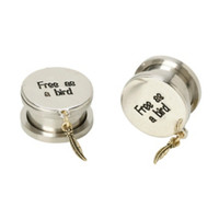 Steel Free As A Bird Feather Dangle Spool Plug 2 Pack