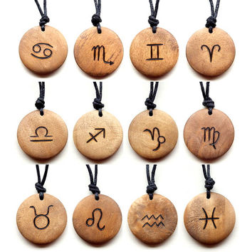 Signs of the Zodiac Necklace Star Sign Astrology Symbols Pendant Choker Unisex Wood Burned Rustic Wood Natural Style