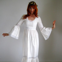 $88.00 1960s Dress White Dress Lace Dress Hipster Boho Tea by gogovintage