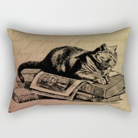 Vintage Cat Collage-Grunge Background Rectangular Pillow by Digital Effects