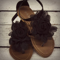 Forget Me Not Flower Sandals Black