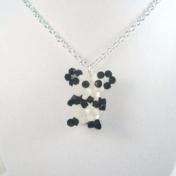 Bear Necklace Beaded Bear Necklace
