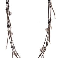 Fine layer necklace with multi charm pendants