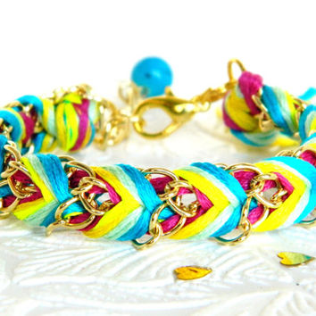 Sherbert Punch - Neon Raspberry, Electric Lemon, Mint, & Turquoise - Adjustable Chevron Braided Modern Friendship Bracelet