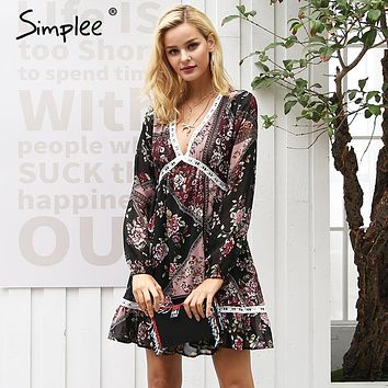 Simplee Floral print ruffles winter dress women V neck long sleeve autumn dress lace hollow out robe femme vestidos Bohemian