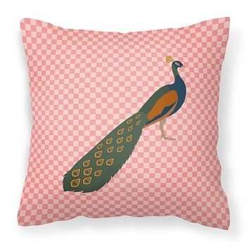 Indian Peacock Peafowl Pink Check Fabric Decorative Pillow BB7925PW1414