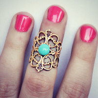 gold tone knuckle ring in turquoise, above the knuckle ring, turquoise ring, gold knuckle ring, unique ring
