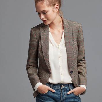 Plaid One Button Jacket