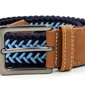 Mens Designer Belts Mens Leather Braided Elastic Stretch Cross Buckle Casual Golf Belt Waistband From Belt