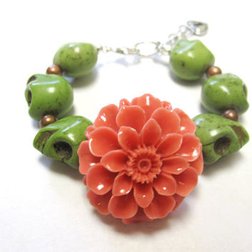 Sugar Skull Bracelet Day of the Dead Jewelry Green Coral