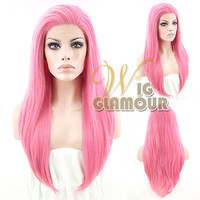 "18"" Long Straight Pink Customizable Lace Front Synthetic Hair Wig"