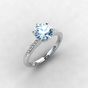 Aquamarine ring, 18k, White gold, Diamond, Engagement ring, solitaire, diamond ring, blue, micro pave, Aquamarine engagement