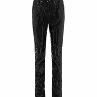 High-waisted faux-leather trousers