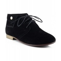 Breckelle Sandy-42 Side Pocket Suede Lace Up Oxford Ankle Flat Shoes BLACK