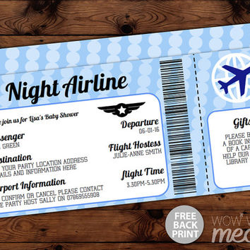 Blue Airline Baby Shower Invitations Ticket Invite INSTANT DOWNLOAD Air Plane It's a Boy Blue Passport Personalize Editable Printable Party