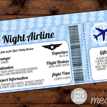Plane ticket baby shower invitations image bathroom 2017 blue airline baby shower invitations from wowwowmeow on etsy filmwisefo Image collections
