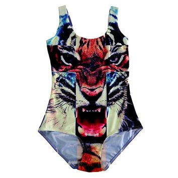 Women Sexy SWIMSUIT Digital Cross Tiger Print Popular Zip Slim Bodysuit Backless Beach Swimwear