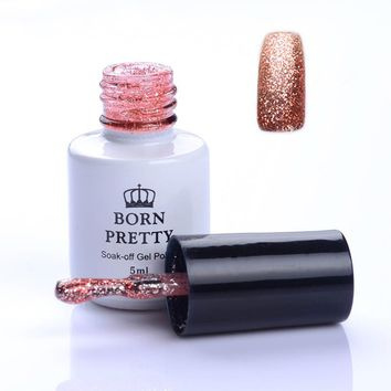 BORN PRETTY Glitter Sand Platinum UV Gel Polish Soak Off  Silver Rose Gold Light Green Long-lasting Nail Gel Varnish Lacquer
