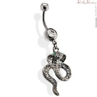 Belly button ring hematite Cobra with Green CZ eyes Dangle