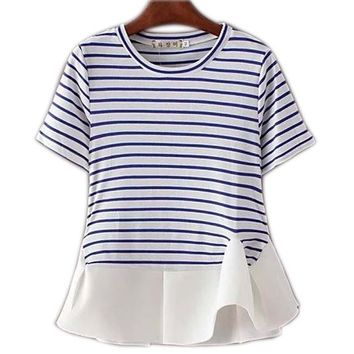 American Fashion Summer 2016 Women Elegant Striped T-shirt Chiffon Patchwork Casual Short Sleeve Ruffle Tops Tee Shirts