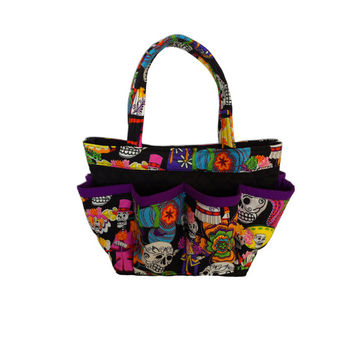 Sugar Skulls Print Bingo Bag // Craft Organizer // Makeup Organizer // Caddy // Teacher Tote // Nurse Tote