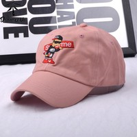 2017 New Fashion Snapbacks Cartoon Embroidery Superme Cotton Jump Starter Baseball Caps For Men Women Hip Hop Cap Solid Color