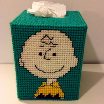 Charlie Brown Tissue Box Cover, Plastic Canvas, Retro Room Decor, Tissue Box, Box Cover, Boutique Box Cover, Get Well Gift, Stocking Stuffer