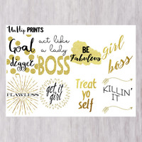 Inspirational planner stickers, motivational planner stickers, gold stickers, eclp planner stickers, girl boss, lady boss, adult stickers