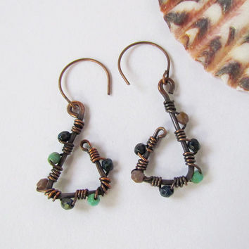 Oxidized Copper Triangle Earrings wire wrap by SandstarJewelry