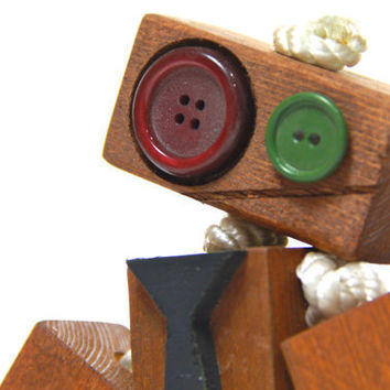 Nerd Wooden toy robot with tie, wood robot, children's toy