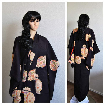 Antique Kimono Japanese Silk Robe Deep OOAK Rinzu Handmade 1930s Luxury Geisha Asian Clothing