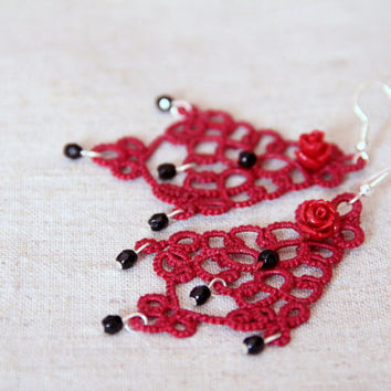 Burgundy and black lace earrings, handmade tatting lace, Christmas earrings, statement earrings, gift idea, original design