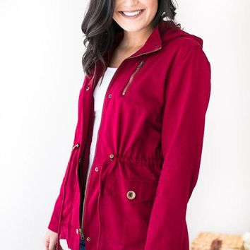 Ease the Chill Red Utility Jacket