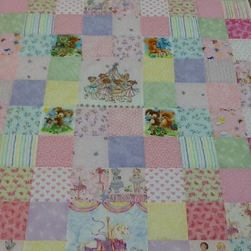 Cherished Teddies,  Maypole Dancers, Carousel Dreams,  Hand-Quilted, Handmade Lap Quilt, Throw 44 x 52 inches Free Shipping Canada, US
