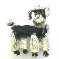 Nemo Poodle Brooch, Black and White Enamel, Nemo Figural, Tiny Dog Pin