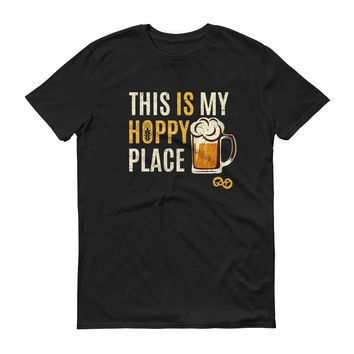 This Is My Hoppy Place - Funny - Beer Drinking - Short-Sleeve T-Shirt
