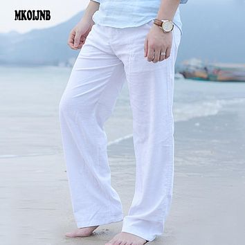 New Top quality Men's Summer Casual Pants Natural Cotton Linen Trousers White Linen Elastic Waist Straight Man's Pants