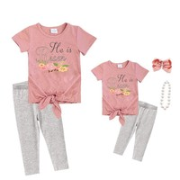 Blush Gray He Is Risen Floral Outfit Knot Top And Capri Mommy Me