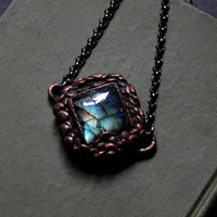 Green Blue Labradorite with Copper Scale Texture | Crystal Necklace | Square Stone | Gemstone Necklace