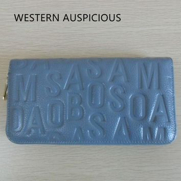 WESTERN AUSPICIOUS Lady Wallet Cow Leather Fashion Letter Zipper Long Female Purse