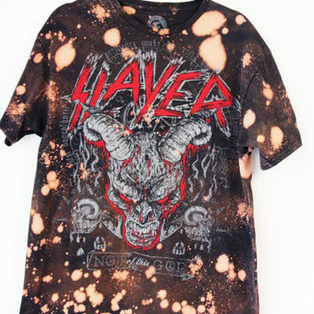 Slayer starry sky Bleached  Tee S-XL DEMON HEAD metal band