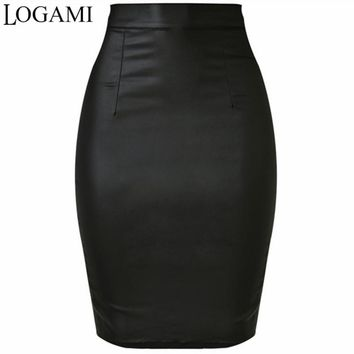 LOGAMI Women Faux Leather Skirt Pencil High Waist Skirts Womens Skirt Black Midi Saia Couro Jupe Simili Cuir