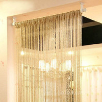 Curtain New Style Silver Silk Curtain Living Room/Door/Window Partition Sheer Curtain &Drop