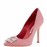 Manolo Blahnik Hangisi Crystal-Buckle Gingham 105mm Pump