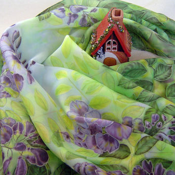 "Art Silk Shawl ""+35 in the shade"". Hand Painted Square scarf. Original Painting Blue Green Lilac wisteria flowers. Ready. 68x68 cm, 27x 27"""