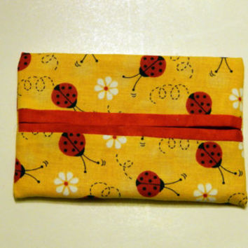 Yellow and Red Tissue Holder, Travel Tissue Cozy, Pocket tissue holder, Card holder, Kleenex holder