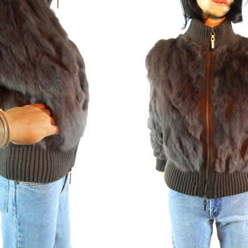 Rabbit Bomber Fur Coat 80s Brown Cropped Ribbed Winter Jacket Lined Boho Chic Streetwear Disco Glam Glamour Small Medium LOUISE PARIS 70s